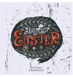 easter lettering with leaves and flowers vector image