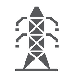 Electric tower glyph icon ecology and energy vector