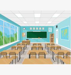Empty school classroom interior vector