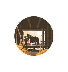 Farm stable with horse vector