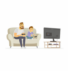 Father and son playing video games - cartoon vector