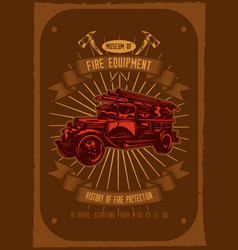 Fire truck with axes on background vector