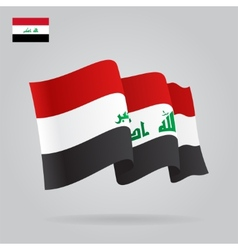Flat and waving Iraqi Flag vector image
