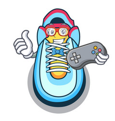 gamer cartoon sneaker with rubber toe vector image