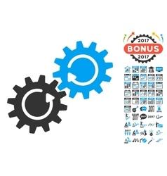 Gear Mechanism Rotation Icon With 2017 Year Bonus vector