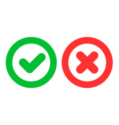 Green checkmark ok and red cross x icons vector