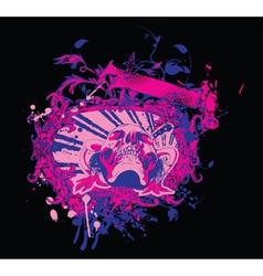 grunge vintage emblem with skull vector image