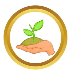 Hands with green sprout icon vector image