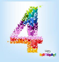 Happy birthday postcard four years vector