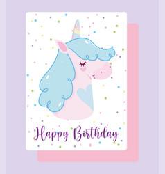 happy birthday unicorn cartoon rainbow horn dotted vector image