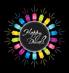 happy diwali festival greeting design vector image