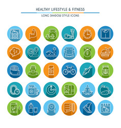 healthy lifestyle long shadow icons vector image