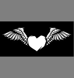 Heart with wings for tattoo design or emblem vector