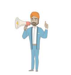 Hindu businessman talking into loudspeaker vector