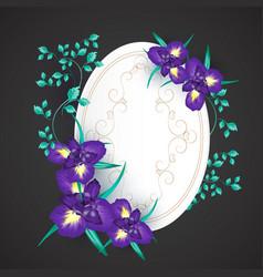 iris flower wedding invitation card vector image