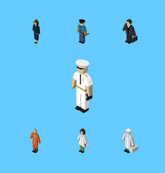 Isometric people set of medic cleaner seaman and vector