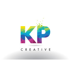 Kp k p colorful letter origami triangles design vector