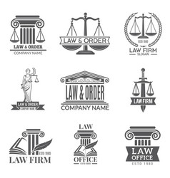 Law and legal labels legal code judge hammer and vector