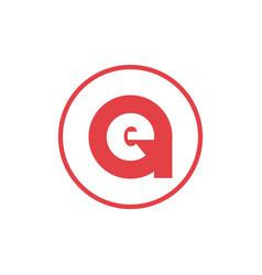 Letter a negative space letter e icon logo design vector