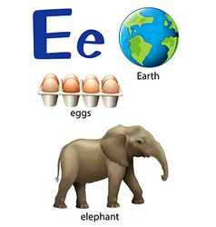 Letter E for Earth eggs and elephant vector