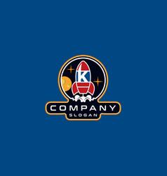 Letter k rocket logo design vector