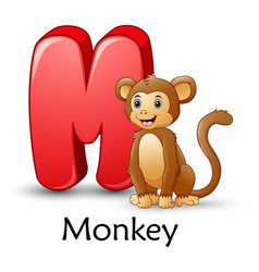 letter m is for monkey cartoon alphabet vector image