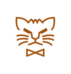 line art cat face logo vector image