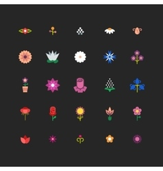 Linear flower floral icons with bright vector