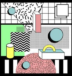 memphis style geometric random background vector image