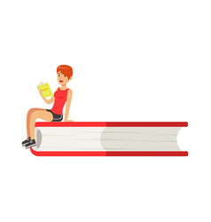 micro young redhead woman sitting on a giant book vector image
