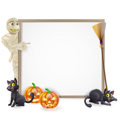 mummy halloween banner sign vector image