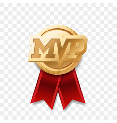 mvp gold medal award most valuable player trophy vector image