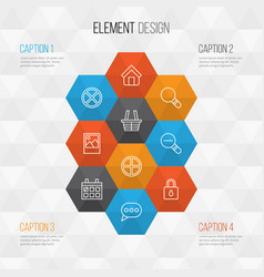 Network icons set collection of positive image vector
