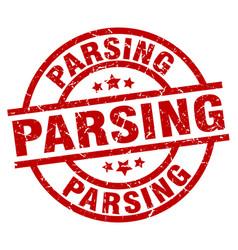 Parsing round red grunge stamp vector