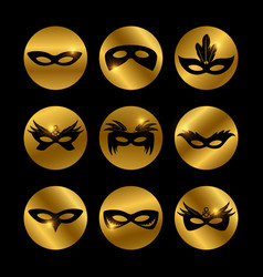 Party face masks icons with glowing elements vector