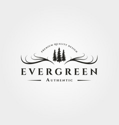 Pine tree with antler logo evergreen vintage vector