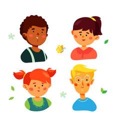 portraits happy preschool children - colorful vector image