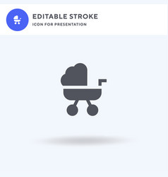 Pushchair icon filled flat sign solid vector