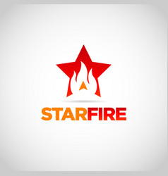 red star fire logo design symbol vector image