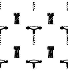 retro wood corkscrew icon seamless pattern for vector image