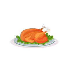 roasted turkey traditional christmas food vector image
