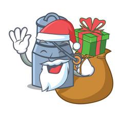 Santa with gift milk can mascot cartoon vector