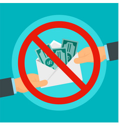 Say no to bribery concept background flat style vector