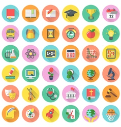 School subjects icons in circles with long shadows vector