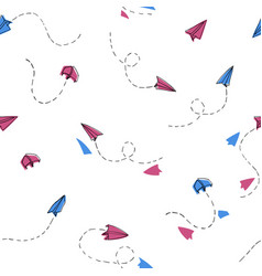 Seamless hand drawn paper planes pattern white vector
