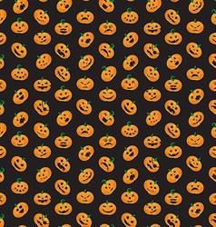 Seamless pattern from Halloween emotional pumpkins vector image