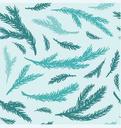 seamless pattern hand drawn spruce branches vector image