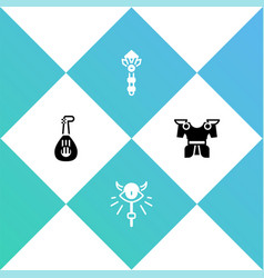 Set lute magic staff wand and body armor icon vector