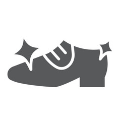 Shoe cleaning glyph icon clean and shoes shining vector