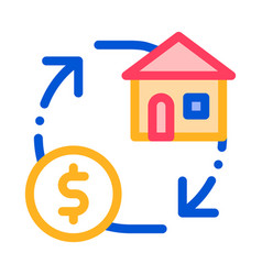 Sign exchange money on house thin line icon vector